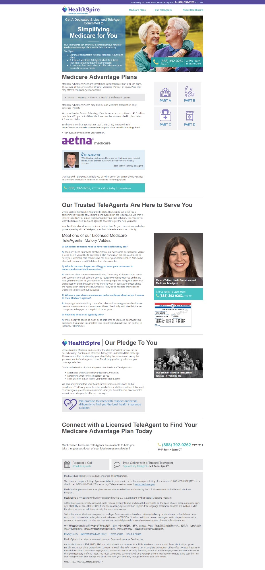 Landing Page Optimization: How Aetna's HealthSpire startup generated 638% more leads for its call center